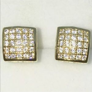 New Yellow Gold on 925 Solid Silver Studs Earring